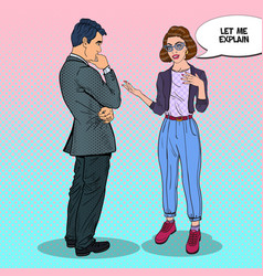 Young woman talking with man pop art vector