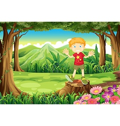 A young man standing above the stump at the forest vector image vector image