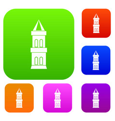 castle tower set color collection vector image vector image