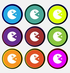 pac man icon sign Nine multi colored round buttons vector image