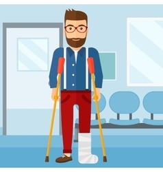 Patient with broken leg vector image vector image