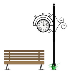 retro clock and wooden bench vector image