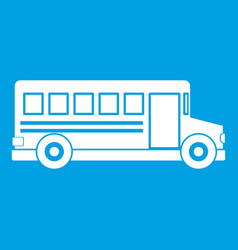 school bus icon white vector image vector image
