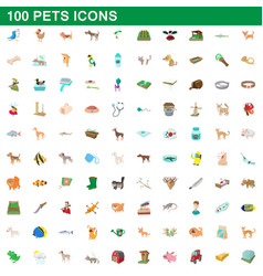 100 pets icons set cartoon style vector