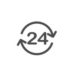 24 hours icon 24 hours sign time clock icon vector image