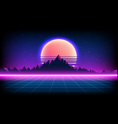 80s retro sci-fi background with sunrise or sunset vector image