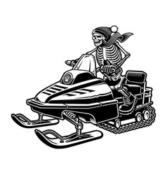 A skeleton on snowmobile vector