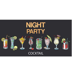 alcoholic cocktails isolated on black vector image