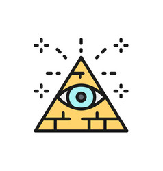 All seeing eye triangle pyramid flat color line vector