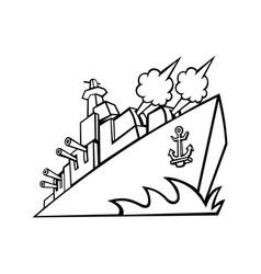 american destroyer warship or battleship vector image