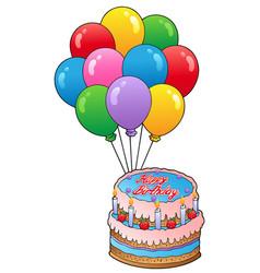 birthday theme with cake 2 vector image