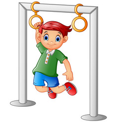 Boy hanging on the bar vector