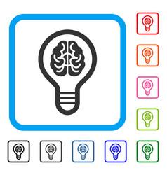brain bulb framed icon vector image