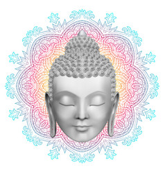 buddha face and round color mandala pattern vector image