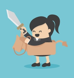 Business woman riding the toy horse have sword vector