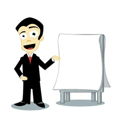Businness man showing a blank page vector