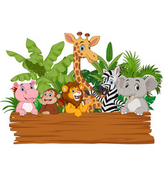 cartoon wild animals holding blank board vector image
