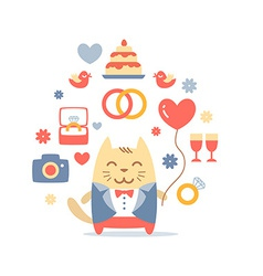 Character groom in a wedding suit colorful flat vector