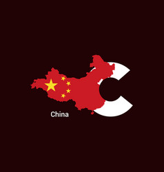 china initial letter country with map and flag vector image
