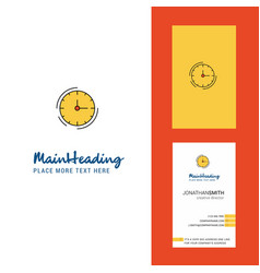 clock creative logo and business card vertical vector image