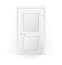 Closed door icon - blank white door with panels vector