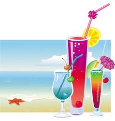 Cocktails on beach vector