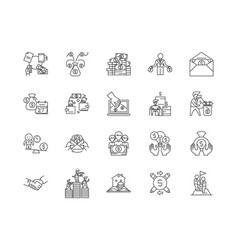 Corruption line icons signs set outline vector