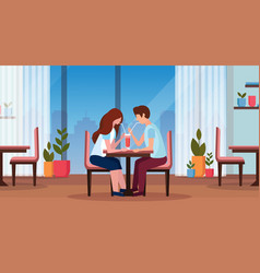 couple drinking coffee through straw together vector image