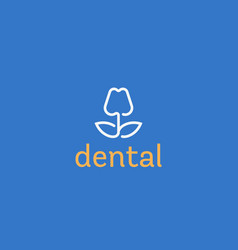 dentist logo design tooth linear logotype vector image