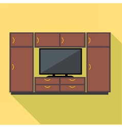 Digital brown cabinet furniture and tv set vector image