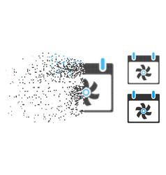 Disintegrating dot halftone fan calendar day icon vector