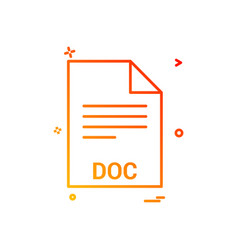 doc file file extension file format icon design vector image