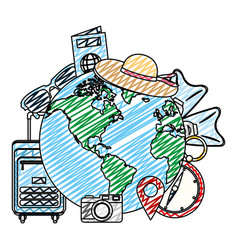 Doodle global planet with journey travel objects vector