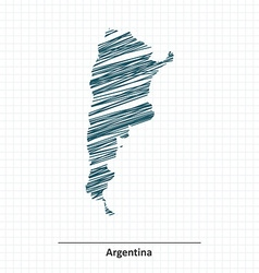 Doodle sketch of argentina map vector