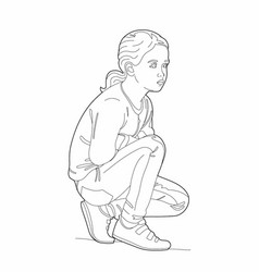 Drawing of a crouching girl vector