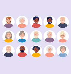 Elderly people avatars old person faces for web vector
