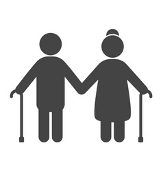 elderly people black icon aged family vector image