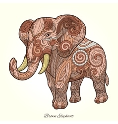 Elephant brown ornament ethnic vector image