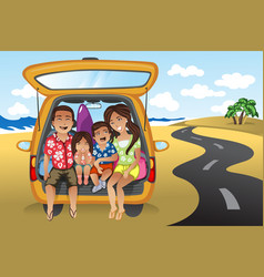 Family on a road trip vector