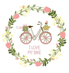 Floral wreath and bike vector