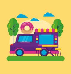 food trucks festival flat design vector image