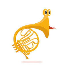 funny french horn musical instrument cartoon vector image
