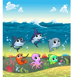 Funny marine animals on the ocean floor vector image
