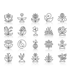 garden simple black line icons set vector image