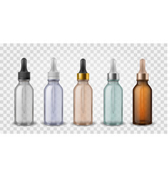 glass bottles with dropper 3d realistic cosmetic vector image