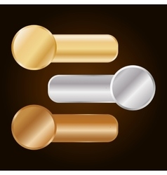 Gold silver and bronze equalizer knobs icon image vector