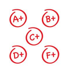 Grade results set hand drawn grade in red circle vector