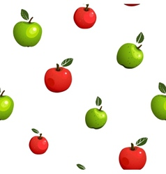Green and Red Apple Seamless Pattern vector image