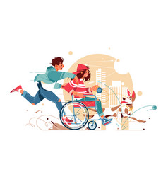 Guy and a woman in wheelchair vector