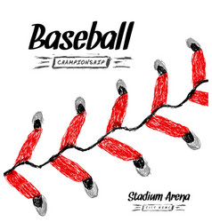 Hand-drawn baseball ball on white background vector